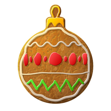 holiday cookies: Gingerbread bauble symbol decorated colored icing. Holiday cookie in shape of christmas tree ball. Qualitative vector design element for new year day, christmas, winter holiday, cooking, new year eve, food, silvester, etc Illustration