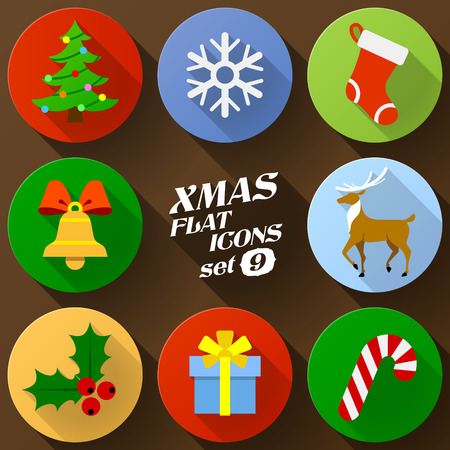 new icon: Color flat icon set of christmas elements. Pack of symbols for new year holiday. Qualitative vector graphics for christmas, new year day, winter holiday, design, silvester, etc
