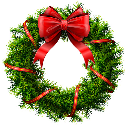 Christmas wreath with red bow and ribbon. Decorated wreath of pine branches isolated on white background. Qualitative vector illustration for new year day, christmas, decoration, winter holiday, design, new year eve, silvester, etc