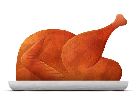 Cooked roast turkey, chicken isolated on white background. Christmas whole turkey on platter without garnish. Qualitative vector illustration about cooking, holiday meals christmas, thanksgiving, recipes, gastronomy, food, restaurant, etc