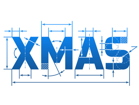 silvester: Word XMAS with dimension lines. Element of blueprint drawing in shape of Christmas. Qualitative vector illustration for christmas, new year day, winter holiday, new year eve, silvester, etc