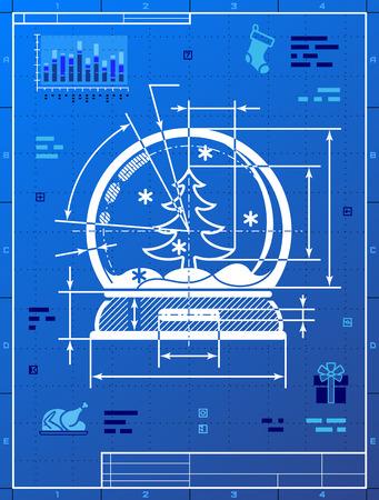 Christmas snow globe-Symbol als Blaupause Zeichnung. Stilisierte Ausarbeitung der Schneekugel auf Blaupause Papier. Qualitative Vektor-Illustration für neues Jahr, Weihnachten, Dekoration, Winterurlaub, andenken, silvesterabend, silvester, etc Illustration