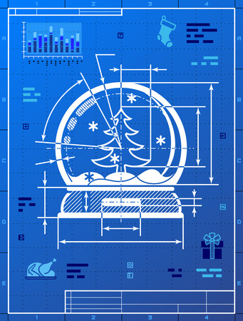 christmas snow globe: Christmas snow globe symbol as blueprint drawing. Stylized drafting of snow dome on blueprint paper. Qualitative vector illustration for new year day, christmas, decoration, winter holiday, souvenir, new year eve, silvester, etc Illustration