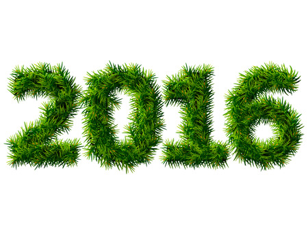 navidad: New Year 2016 of christmas tree branches isolated on white background. Empty pine twigs in shape of number 2016. Qualitative vector design element for new year day, christmas, winter holiday, new year eve, silvester, etc