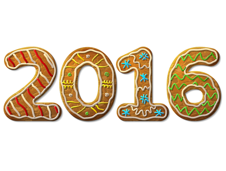 holiday food: New Year 2016 in shape of gingerbread isolated on white background. Year number as cookies. Qualitative vector design element for new year day, christmas, winter holiday, cooking, new year eve, food, silvester, etc Illustration
