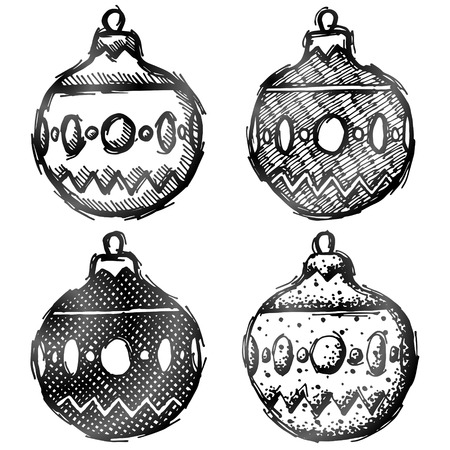 line drawing: Hand drawn bauble holiday decoration. Sketch of christmas tree ornament in doodle style. Qualitative vector design element for new year day, christmas, winter holiday, decoration, new year eve, silvester, etc