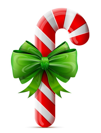 Christmas candy cane with bow. Striped holiday candy stick decorated ribbon. Qualitative vector design element for christmas, new year day, winter holiday, dessert, new year eve, food, silvester, etc