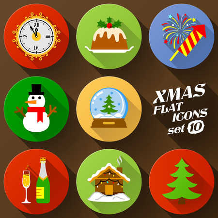 Color flat icon set of christmas elements. Pack of symbols for new year holiday. Qualitative vector graphics for christmas, new year day, winter holiday, design, silvester, etc