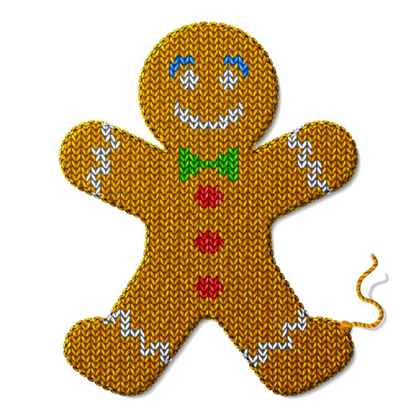 silvester: Gingerbread man of knitted fabric isolated on white background. Fragment of knitting in shape of christmas cookie. Qualitative vector illustration for new year day, christmas, decoration, winter holiday, design, new year eve, silvester, etc