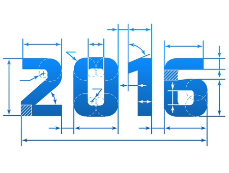 New Year 2016 number with dimension lines. Element of blueprint drawing in shape of 2016 year. Qualitative vector design element for new year day, christmas, winter holiday, engineering, new year eve, technologies, etc