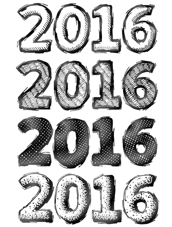 silvester: Hand drawn New Year 2016. Sketch of year number in doodle style. Qualitative vector illustration for new years day, christmas, winter holiday, new years eve, silvester, etc