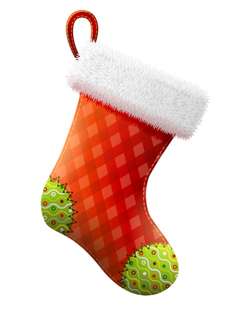 Empty christmas stocking isolated on white background. Decorative red sock with white fur and patches. Qualitative vector illustration for christmas, new year, decoration, winter holiday, silvester, tradition, etc