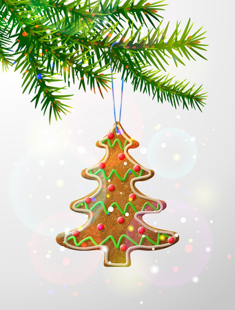 dainty: Christmas tree branch with decorative cookie. Gingerbread christmas tree hanging on pine twig. Qualitative vector illustration for christmas, new year day, winter holiday, design, new year eve, silvester, etc