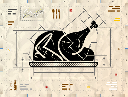 Christmas whole turkey symbol as technical blueprint drawing. Drafting of roast chicken sign on crumpled kraft paper. Qualitative vector illustration about cooking, holiday meals, christmas, thanksgiving, recipes, gastronomy, food, restaurant, etc