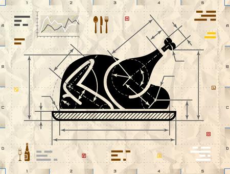 comida de navidad: Navidad símbolo pavo entero como dibujo técnico anteproyecto. Redacción de señal de pollo asado en papel kraft arrugado. Ilustración vectorial cualitativa acerca de la cocina, comidas de las fiestas, la navidad, acción de gracias, recetas, gastronomía, comida, restaurante, etc.