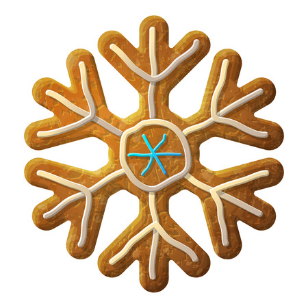 holiday food: Gingerbread snowflake symbol decorated colored icing. Holiday cookie in shape of snow sign. Qualitative vector design element for new year day, christmas, winter holiday, cooking, new year eve, food, silvester, etc