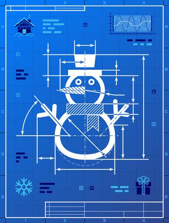 図面の青写真としてクリスマス雪だるま記号です。青写真紙冬 snowperson の様式化された製図は。冬の休日のための質的なベクトル図正月, クリスマス