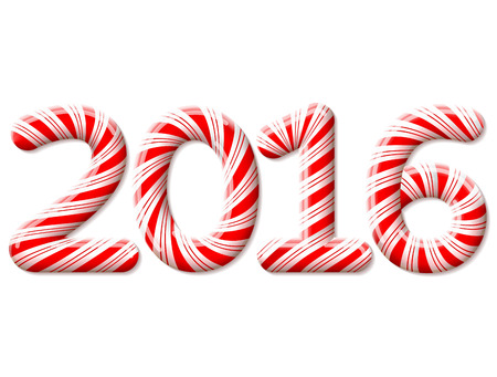 holiday food: New Year 2016 in shape of candy stick isolated on white background. Year number as striped holiday candies. Qualitative vector design element for christmas, new year day, sweet-stuff, winter holiday, new year eve, food, silvester, etc