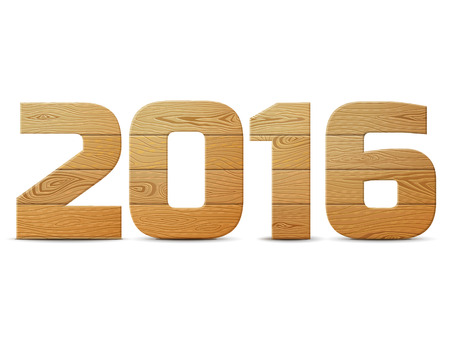 boarded: New Year 2016 of wood isolated on white background. Wooden planks in shape of year number. Qualitative vector design element for new year day, christmas, woodworking, winter holiday, new year eve, construction, silvester, etc