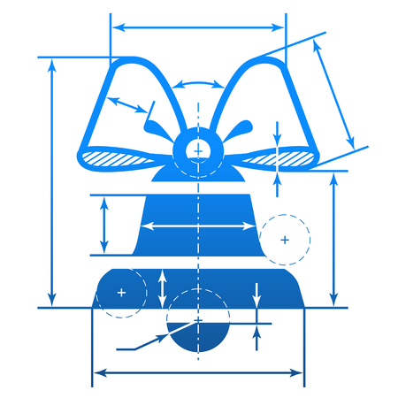 dimensions: Christmas bell with dimension lines. Element of blueprint drawing in shape of jingle bell. Qualitative vector illustration for christmas, new year day, decoration, winter holiday, design, new year eve, silvester, etc Illustration