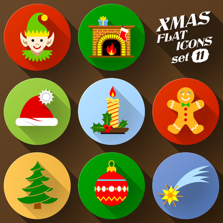 silvester: Color flat icon set of christmas elements. Pack of symbols for new year holiday. Qualitative vector graphics for christmas, new year day, winter holiday, design, silvester, etc