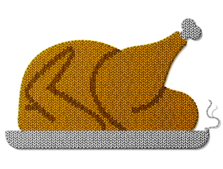 turkey: Roast turkey, chicken of knitted fabric isolated on white. Fragment of knitting in shape of christmas whole turkey. Vector image for christmas, new year day, holiday meals christmas, thanksgiving, winter holiday, decoration, silvester, etc Illustration