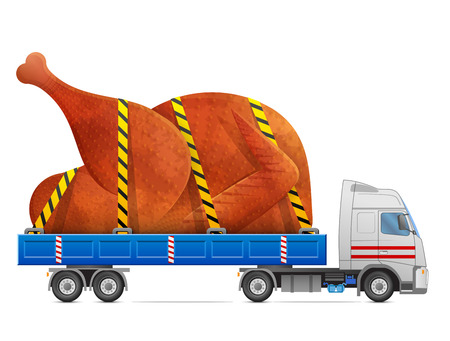 feliz navidad: Road transportation of roast turkey, chicken. Delivery of big christmas whole turkey in back of truck. Qualitative vector illustration about cooking, holiday meals christmas, thanksgiving, recipes, gastronomy, food, restaurant, etc Illustration