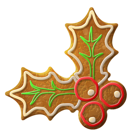 christmas cookie: Gingerbread holly berry symbol decorated colored icing. Holiday cookie in shape of holly berry. Qualitative vector design element for new year day, christmas, winter holiday, cooking, new year eve, food, silvester, etc