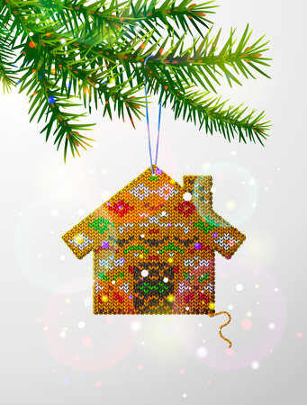 spruce thread: Christmas tree branch with decorative knitted house. Home of knitted fabric hanging on pine twig. Qualitative vector illustration for christmas, new year day, design, winter holiday, decoration, silvester, etc