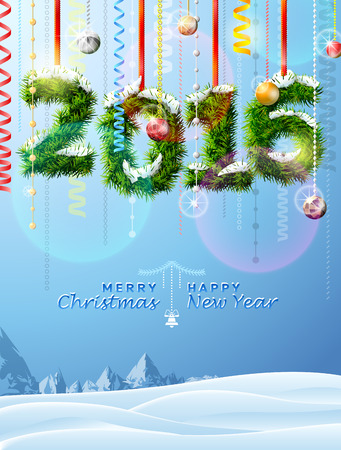 silvester: New Year 2016 of twigs like christmas decoration. Winter landscape with christmas congratulation. Qualitative vector illustration for new year day, christmas, winter holiday, new year eve, silvester, etc Illustration
