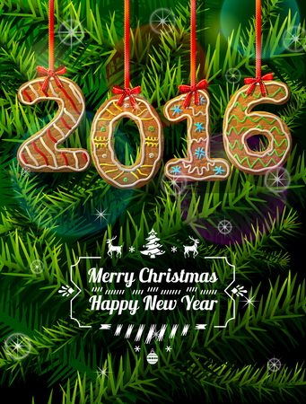 New Year 2016 in shape of gingerbread against pine branches. Year number like cookies on ribbon. Qualitative vector illustration for new year day, christmas, winter holiday, cooking, new year eve, food, silvester, etc