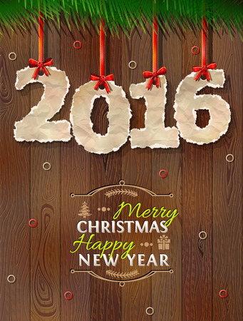 torn edge: New Year 2016 of crumpled paper against wood background. Paper numbers with torn edge on ribbon. Qualitative vector illustration for new year day, christmas, winter holiday, new year eve, silvester, etc