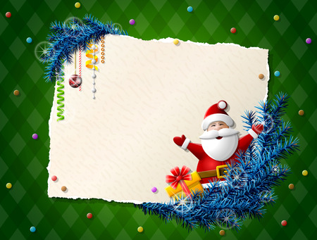 Paper for christmas list with Santa Claus and gift. Decorations, pine branches and blank paper on checkered background. Qualitative vector illustration for christmas, new year day, winter holiday, new year eve, silvester, etc