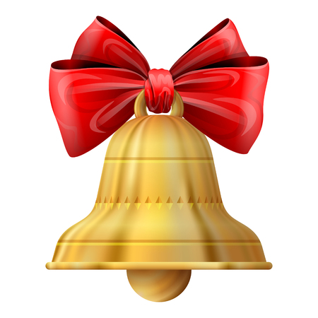 inkle: Christmas bell isolated on white background. Golden jingle bell with red ribbon and bow. Qualitative vector illustration for christmas, new year day, decoration, winter holiday, design, new year eve, silvester, etc Illustration