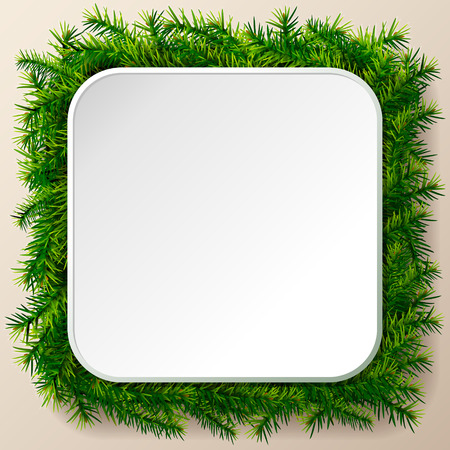 silvester: Empty square frame of christmas tree twigs. Christmas template with pine branches. Qualitative vector layout for new year day, christmas, winter holiday, new year eve, silvester, etc