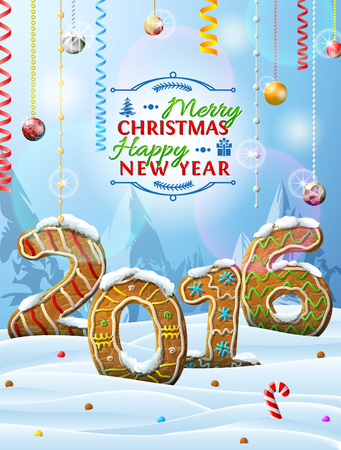 holiday food: New Year 2016 in shape of gingerbreads in snow. Winter landscape with cookies, christmas decoration, congratulation. Qualitative vector design element for new year day, christmas, cooking, winter holiday, food, silvester, etc