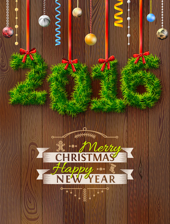 silvester: New Year 2016 of twigs like christmas decoration. Christmas congratulation against wood background. Qualitative vector illustration for new year day, christmas, winter holiday, new year eve, silvester, etc