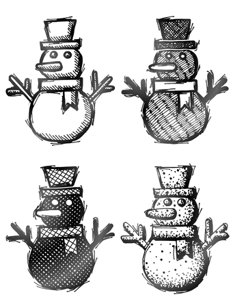 silvester: Hand drawn snowman with hat and scarf. Sketch of winter snowperson in doodle style. Qualitative vector design element for christmas, new year day, winter holiday, decoration, new year eve, silvester, etc Illustration