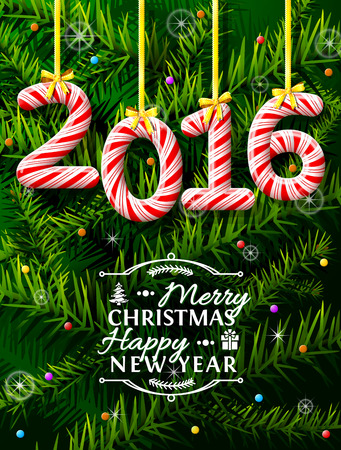 coniferous tree: New Year 2016 in shape of candy stick against pine branches. Year number like holiday candies. Qualitative vector illustration for new year day, christmas, winter holiday, sweet-stuff, new year eve, food, silvester, etc