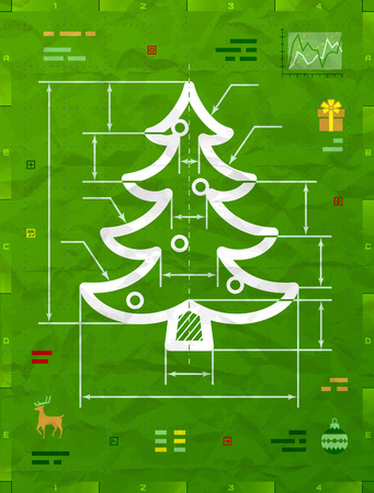 new year eve: Christmas tree symbol as technical blueprint drawing. Drafting of pine sign on crumpled paper. Qualitative vector illustration for christmas, new year day, engineering, winter holiday, design, new year eve, technologies, etc