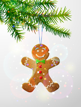 Christmas tree branch with decorative cookie. Gingerbread man hanging on pine twig. Qualitative vector illustration for christmas, new year day, winter holiday, design, new year eve, silvester, etc