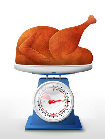 Roast turkey, chicken on scale pan. Weighing christmas whole turkey on scales. Qualitative vector illustration about cooking, holiday meals christmas, thanksgiving, recipes, gastronomy, food, restaurant, etc