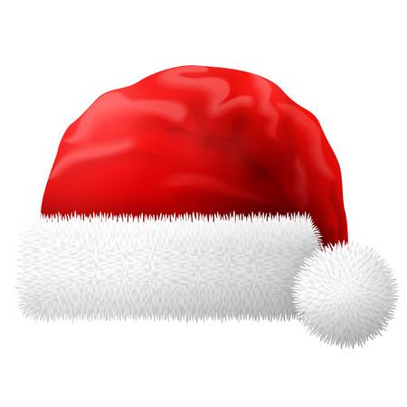 New Year: Santa Claus kapelusz na białym tle. Red christmas kapelusz z białym futrem. Jakościowa ilustracji wektorowych na Boże Narodzenie, Nowy Rok, dekoracje, ferie zimowe, Sylwester, tradycja, etc