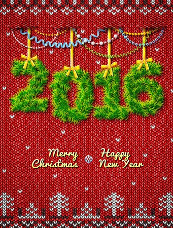silvester: New Year 2016 of twigs as christmas decoration. Christmas congratulation against knitted background. Qualitative vector illustration for new year day, christmas, winter holiday, new year eve, silvester, etc