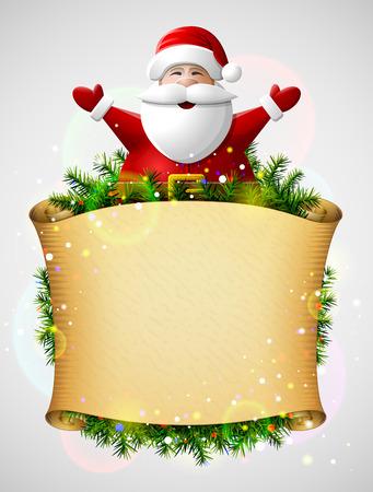 pergamino: Santa Claus con sus manos en alto por encima de papel de navidad de desplazamiento. Nueva plantilla de Año con el pergamino en blanco y árbol de navidad ramitas. Ilustración vectorial cualitativa para la Navidad, día de año nuevo, vacaciones de invierno, la noche vieja, silvester, etc. Vectores