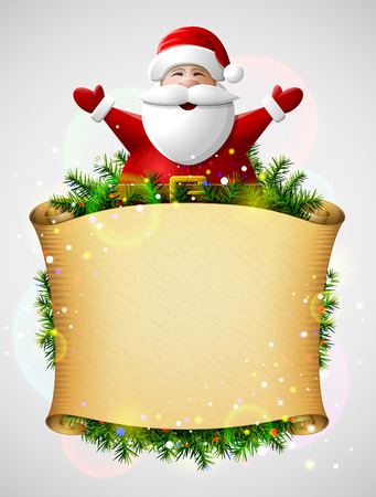 Santa Claus with his hands up above christmas paper scroll. New Year template with blank parchment and christmas tree twigs. Qualitative vector illustration for christmas, new year day, winter holiday, new year eve, silvester, etc
