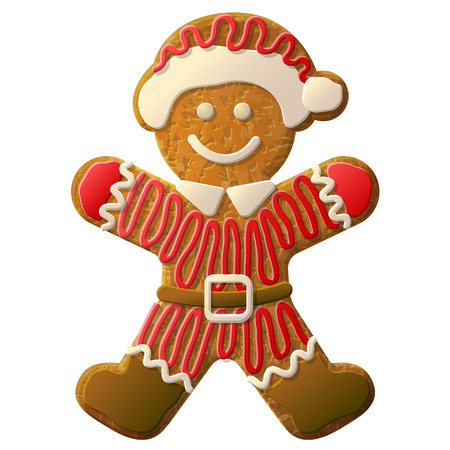 Gingerbread man dressed in Santa Claus suit. Holiday cookie in shape of man decorated colored icing. Qualitative vector illustration for new year day, christmas, winter holiday, cooking, new year eve, food, silvester, etc