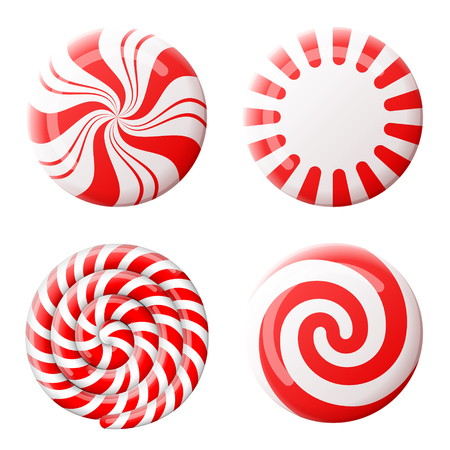 Christmas round candy set. Striped peppermint candies without wrapper. Qualitative vector design element for christmas, new year day, winter holiday, dessert, new year eve, food, silvester, etc