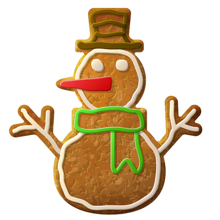 silvester: Gingerbread snowman symbol decorated colored icing. Holiday cookie in shape of winter snowperson. Qualitative vector design element for christmas, new year day, winter holiday, cooking, new year eve, food, silvester, etc