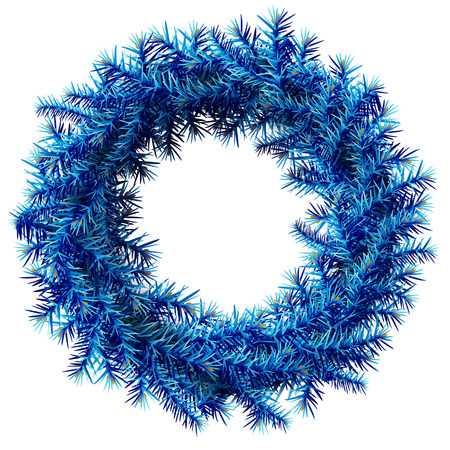 Christmas wreath without decoration. Empty wreath of blue pine branches isolated on white background. Qualitative vector illustration for  christmas, new year day, decoration, winter holiday, design, new year eve, silvester, etc  イラスト・ベクター素材